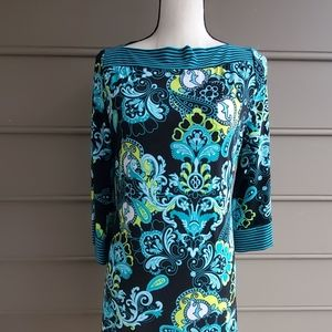 ☀️2/$30 Black and Turquoise Floral Dress